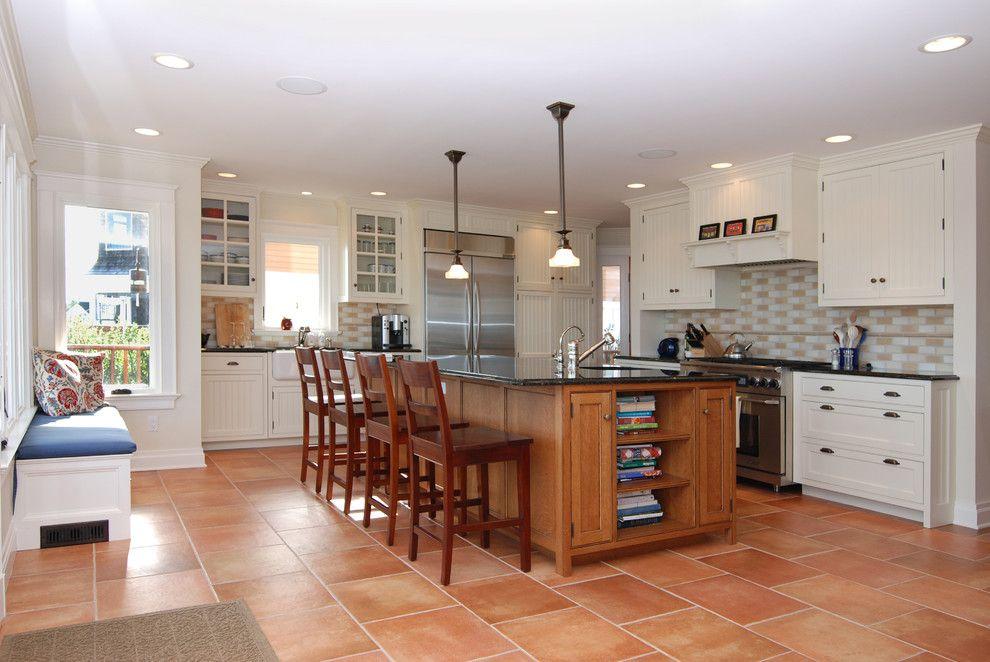 Terra Cotta Tile Kitchen Beach With Beadboard Cabinets Cream Walls