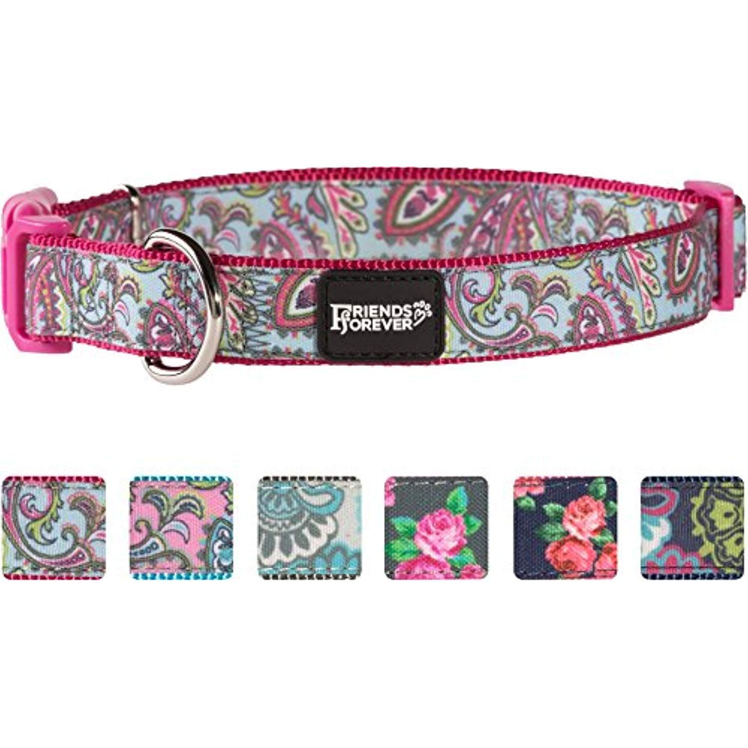Friends forever dog collar for dogs fashion print paisley