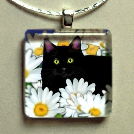 BLACK CAT DAISIES 1 X 1 inches glass tile pendant ... Free chain. $28.00, via Etsy.