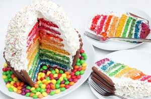 It might just look like an giant cupcake on the outside but this cake is sure to surprise! Cut into this jaw-dropping wonder to reveal it's brightly coloured rainbow layers - tasty and impressive all in one!Get the recipe: Giant rainbow cupcake