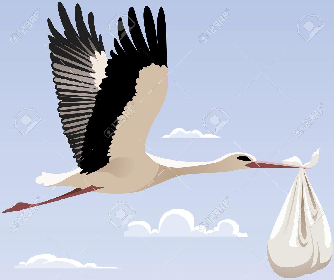 Cigogne avec un faisceau de vol en 2019 inspiration dessin cigogne bebe cigogne et cigogne - Cigogne dessin ...