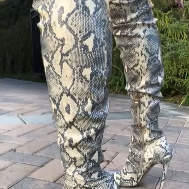 """9e7be8d72b8 Mood 🐍 Shop our exclusive """"Ivory Snake Skin Thigh High Boots"""" also  available in"""