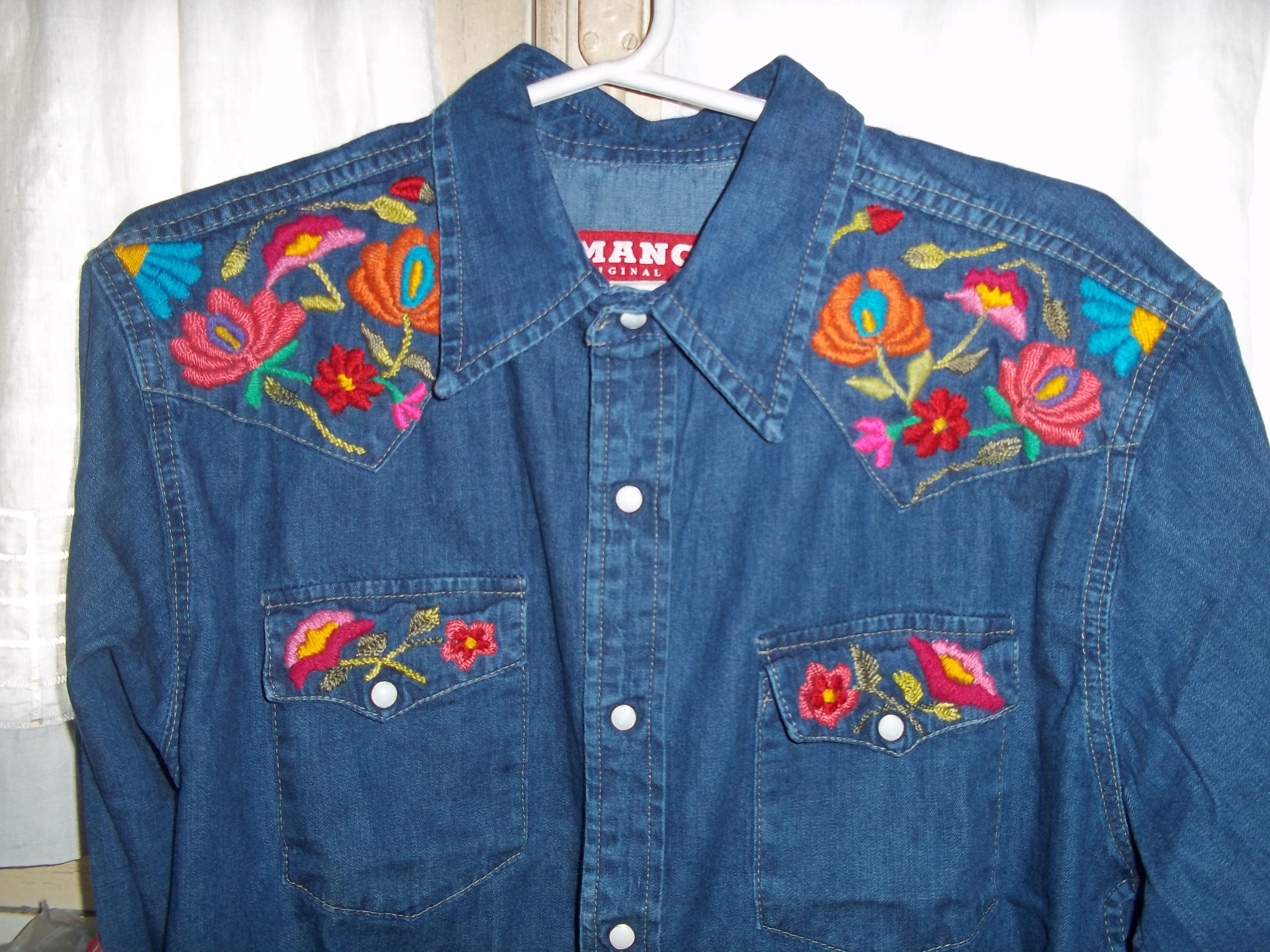 Camisa de jean bordada con lana … pinteres…