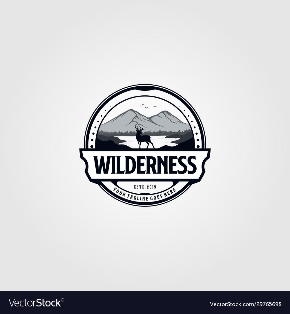 Wilderness Adventure Vintage Logo Royalty Free Vector Image In 2020 Vintage Logo Free Vector Images Wilderness Adventures