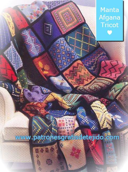 Crochet y Dos agujas: Patrones de Manta Afgana tejida en Dos Agujas ...