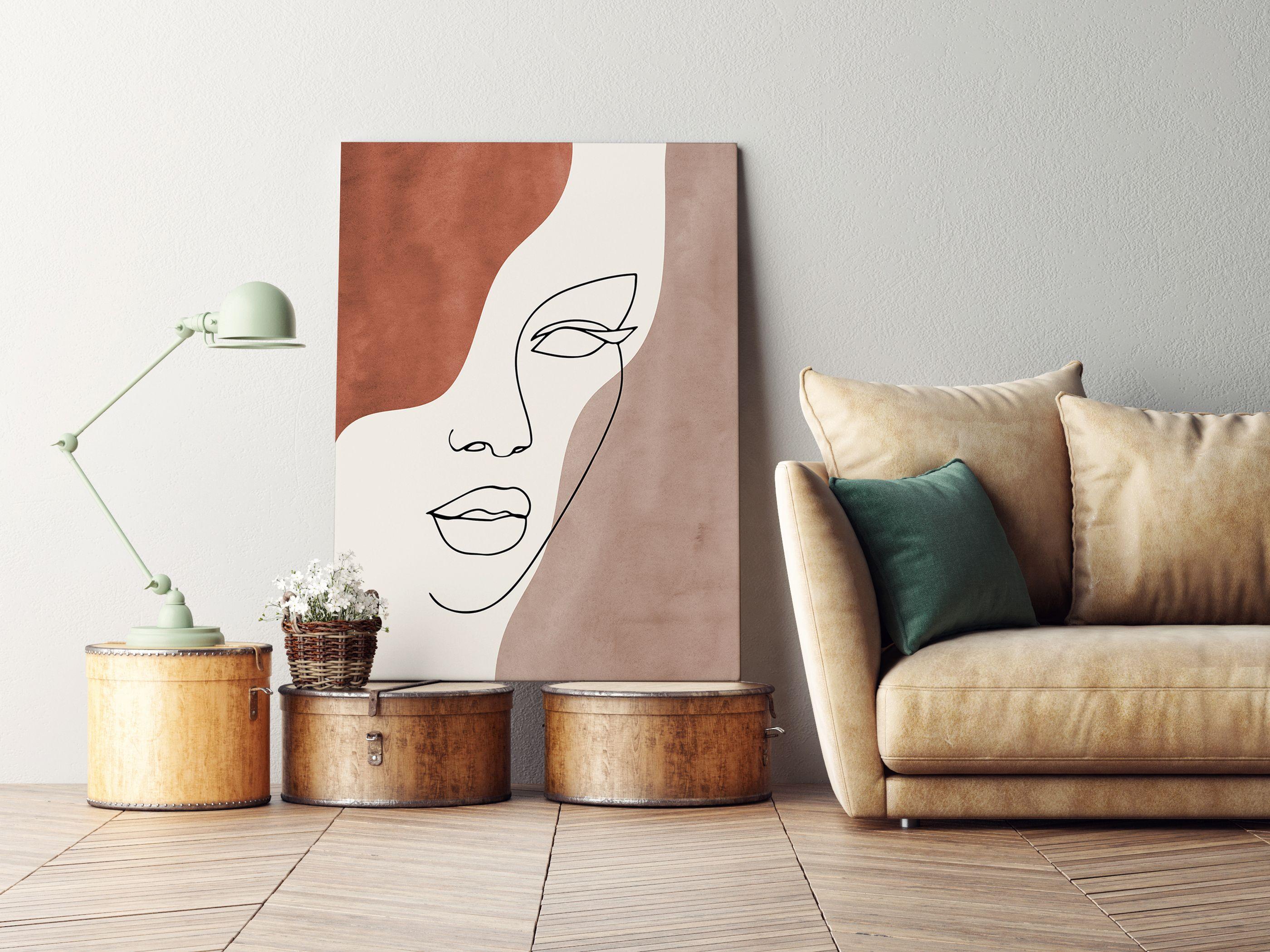 Abstract Face Line Art Print, Line Portrait Earth Tones Minimal Art, Boho Decor