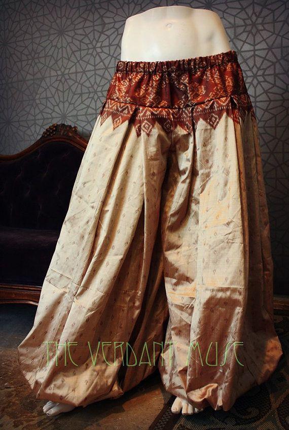 Size M/L Sari Pantaloons 4 Yard Vintage Ikat by theverdantmuse