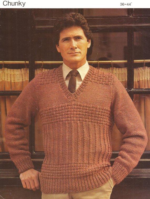 56519121d2c031 PDF Knitting Pattern Mens V Neck Raglan Chunky Knit Sweater Sizes 36