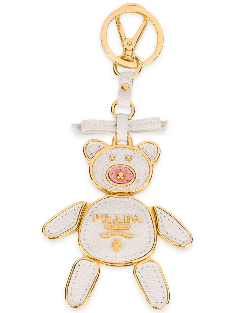 Prada porte-clés nounours à plaque logo   Prada, Miu Miu, Vivetta ... 36708debb53
