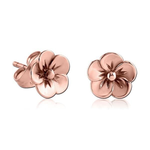 Rose Gold Plated Flower Earrings Flower Earrings Gold Flower Earrings Studs Flower Earrings