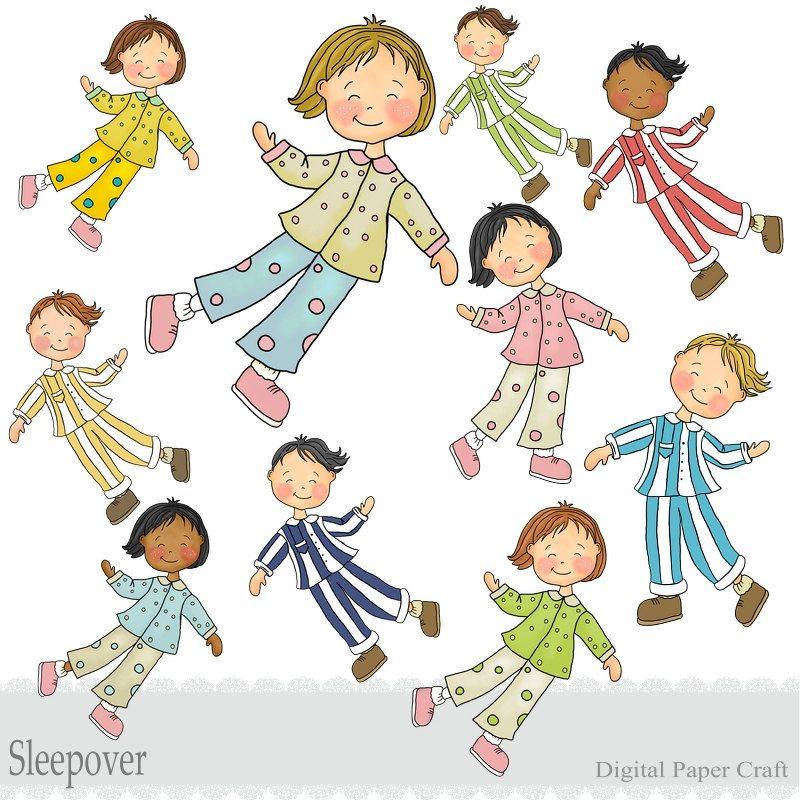Childrens Sleepover Clipart - Boys and Girls - Instant Download ...