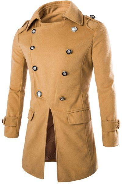 Special Top Fly Multi-Button Epaulet Design Woolen Blend Turn-down Collar Long Sleeves Peacoat For Men