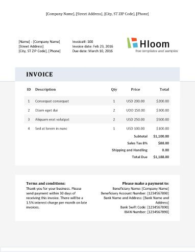 Modern Professional Word Invoice Template Invoice Templates - professional word templates