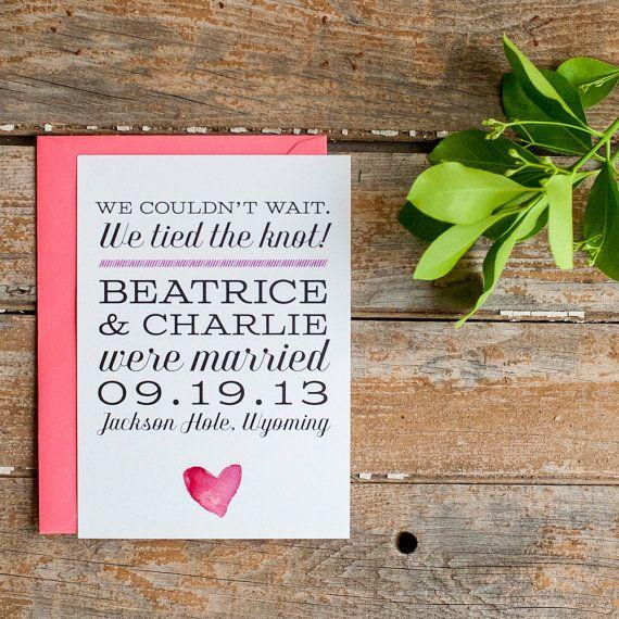Watercolor Wedding Announcement, Elopement Announcement, Typography Wedding Announcement – The Beatrice – Eco, blush, pink, rustic, eloped