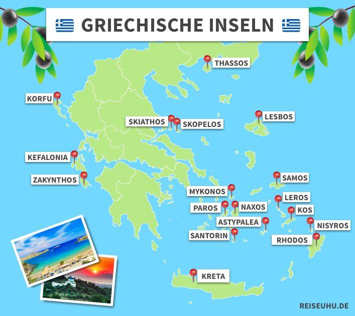 Griechische Inseln - welche Insel ist die richtige für mich? Die schönsten Inseln in  Griechenland: Kos, Mykonos, Rhodos, Kreta, Korfu, Kreta, Zakynthos, Santorini, Kefalonia, Thassos, Skiathos. #griechenland #inseln #urlaub #reisen #reiseinspiration #tipps #reisetipps #kreta #rhodos #mykonos #santorini #korfu #zakynthos #kos #visitgreece