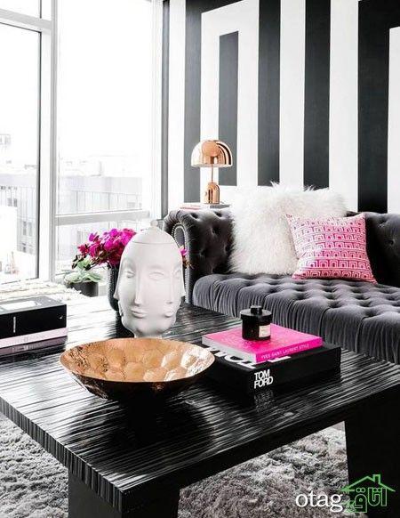 بهترین ایده های طراحی اتاق نشیمن امروزی شیک و جدید Black And