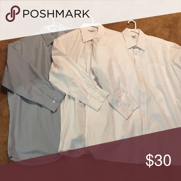 3 Modena Mens Dress shirts. SZ: 18 32/33. 3 Modena Dress shirts. You get one light blue/gray and two white Men's Dress shirts with this listing. SZ:18 32/33. Modena runs small. Only worn once. Hangers not included. Modena Shirts Dress Shirts