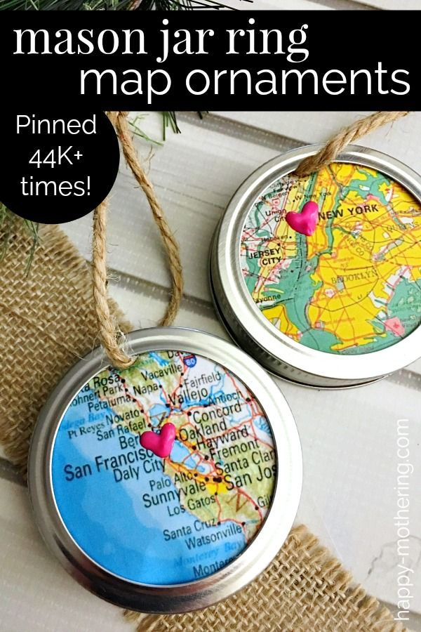 Surprise a Travel Lover with a Mason Jar Ring Map Ornament #uniquecrafts