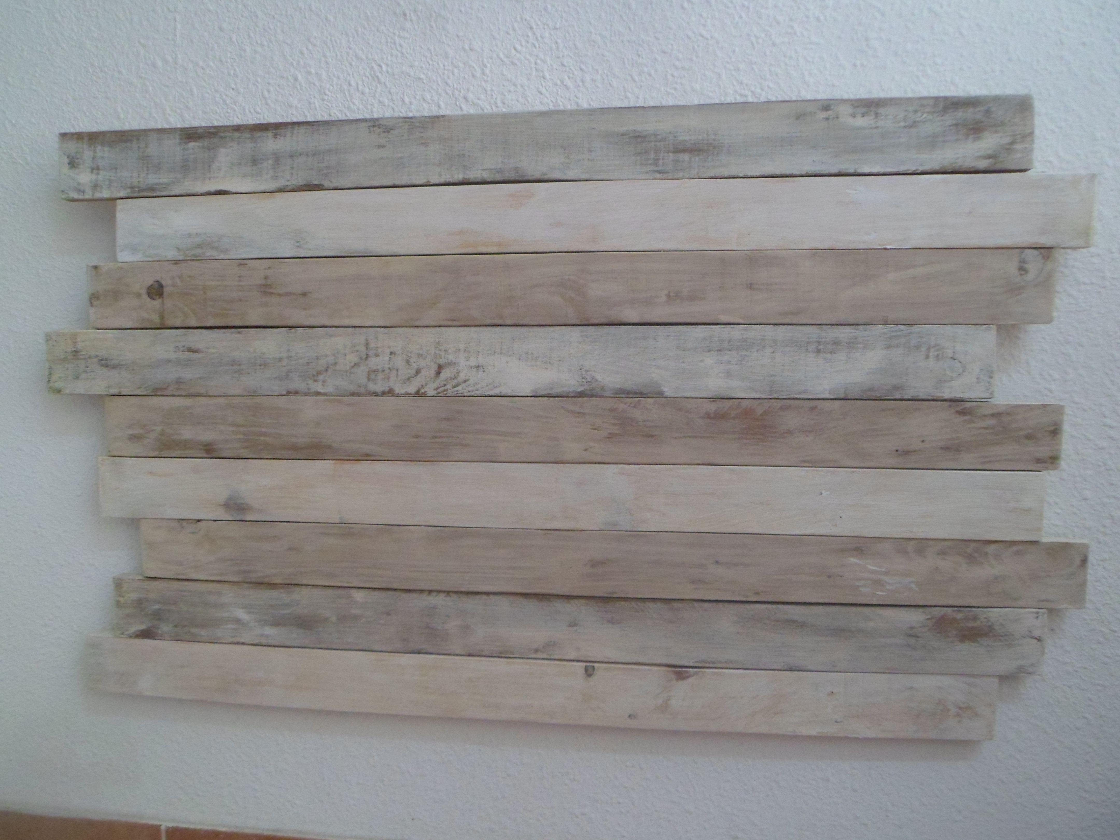 Pin de pizarra de tiza en cabecero decapado vintage blanco - Cabeceros de cama de madera ...