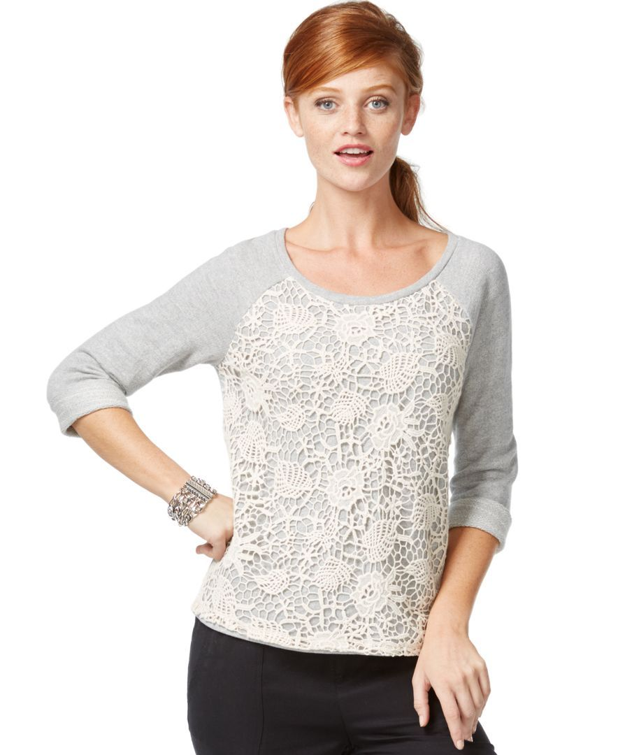 White apron macy's - Inc International Concepts Crochet Front Sweatshirt Only At Macy S