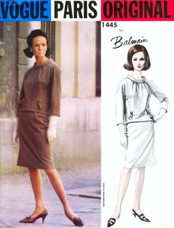 1960s BALMAIN 2 Pc Dress Pattern Vogue Paris Original 1445 Day or ...