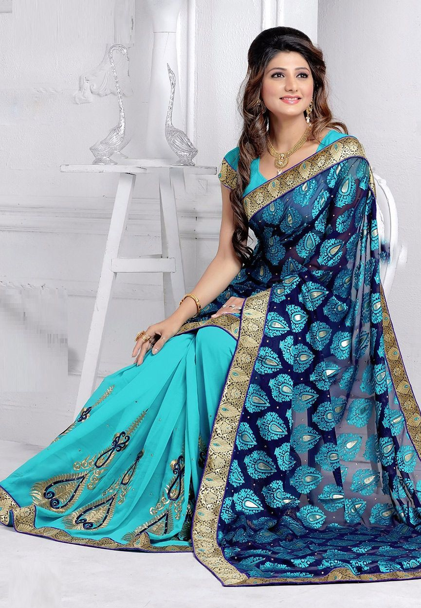 Buy Royal Blue and Aqua Net Brasso and Faux Georgette Saree with Blouse online, work: Embroidered, color: Aqua Blue / Royal Blue, usage: Party, category: Sarees, fabric: Net, price: $69.41, item code: SYC3333, gender: women, brand: Utsav
