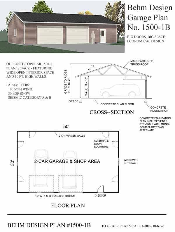 Oversized 2 Car Shop Garage Plan With One Story 15001B by Behm – 50 X 30 Garage Plans
