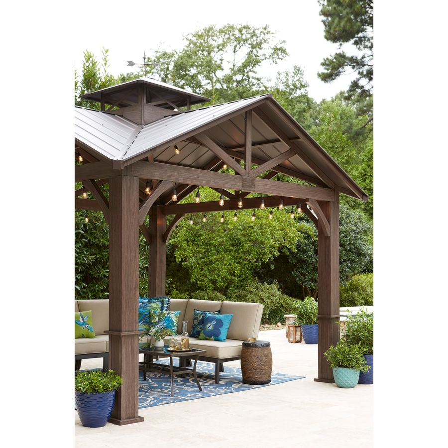 Allen Roth Wood Looking Hand Paint Metal Square Semi Permanent Gazebo Exterior 12 Ft X 12 Ft Foundation 10 56 Ft X 10 56 Ft Lowes Com Backyard Gazebo Permanent Gazebo Gazebo On Deck