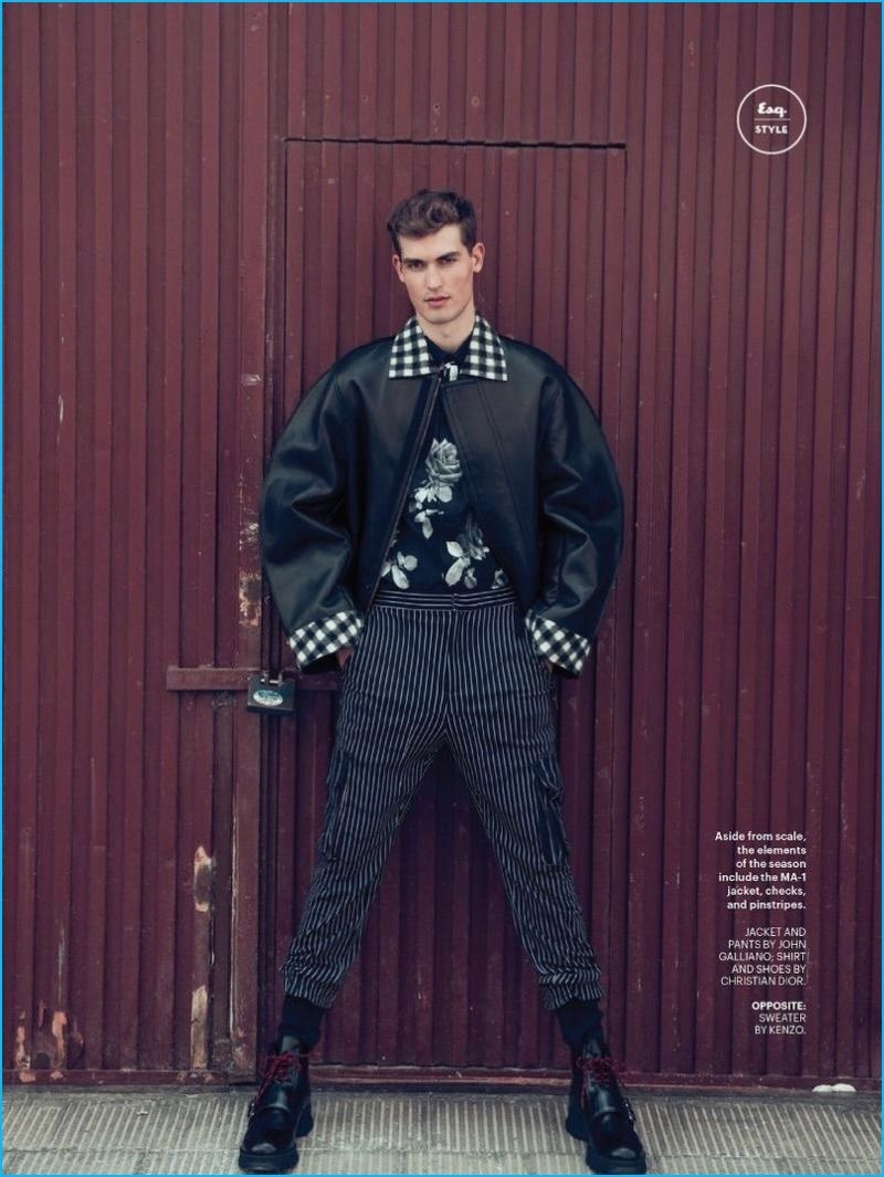 c422a6a78e2 Wearing a black fall outfit, Jason Anthony is front and center in a jacket  and striped pants from John Galliano with a shirt and boots from Dior Homme.
