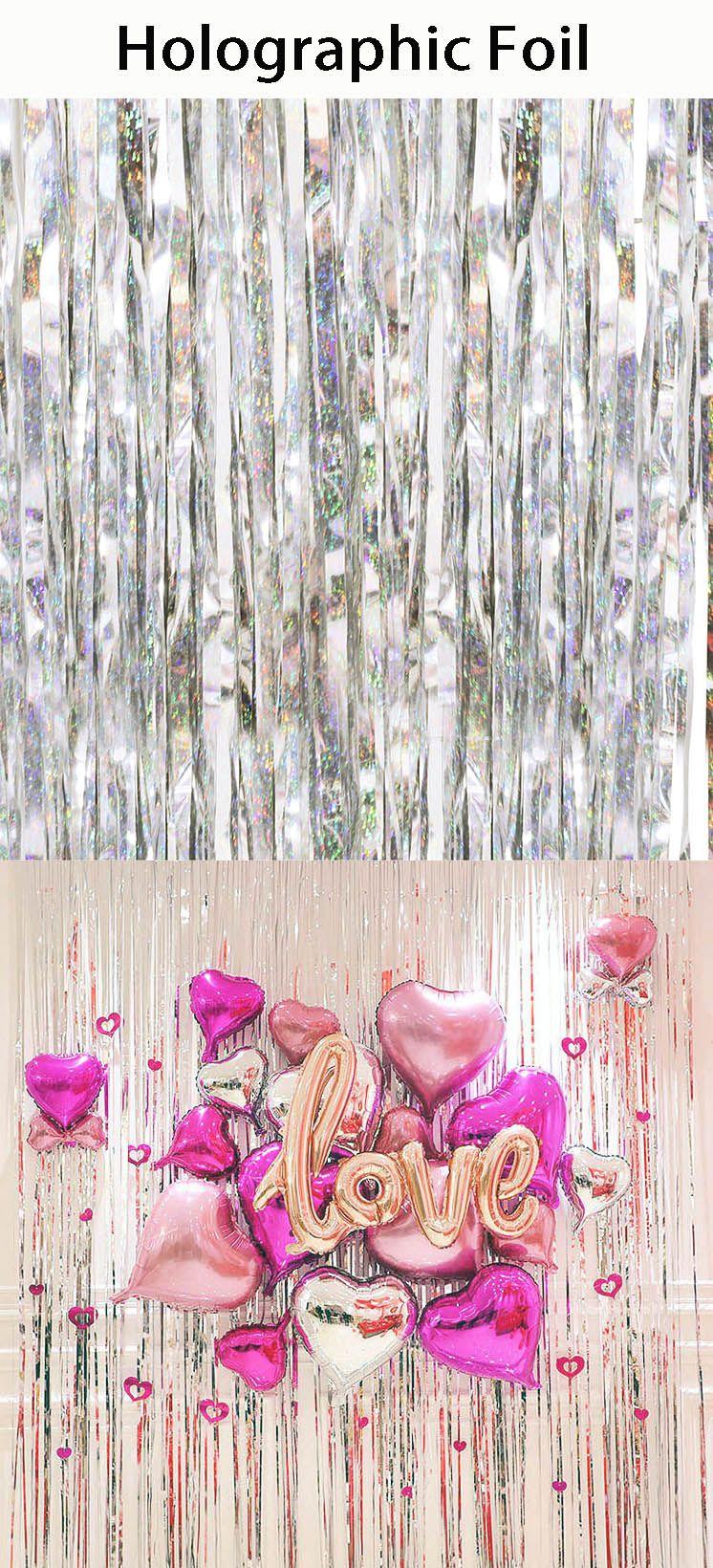 3 x Rose Pink Holographic Metallic Streamers