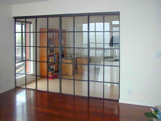cold rolled steel flat bar sliding door frames tempered glass blackened finish