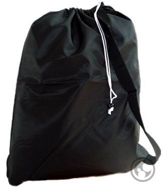 Large Laundry Bag With Drawstring And Strap Color Black Size