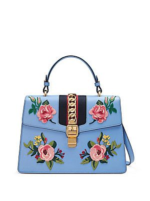 ed7339f1c Gucci Sylvie Embroidered Leather Top-Handle Bag - Sky Blue ...