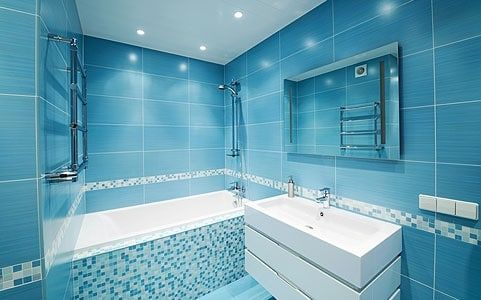 salle de bain en mosaique de bleu - Salle De Bain En Bleu