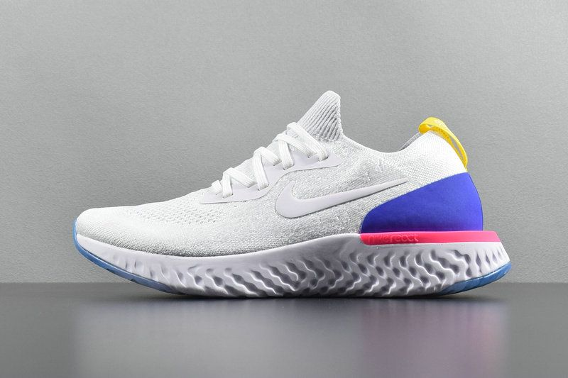030d5251fadec Chaussures de mode Nike Epic React Flyknit White blanc Racer Blue Pink  AQ0067-101 Youth Big Boys Shoes