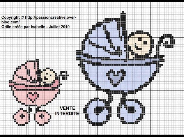 bébé - baby - landau - point de croix - cross stitch - Blog : http://broderiemimie44.canalblog.com/