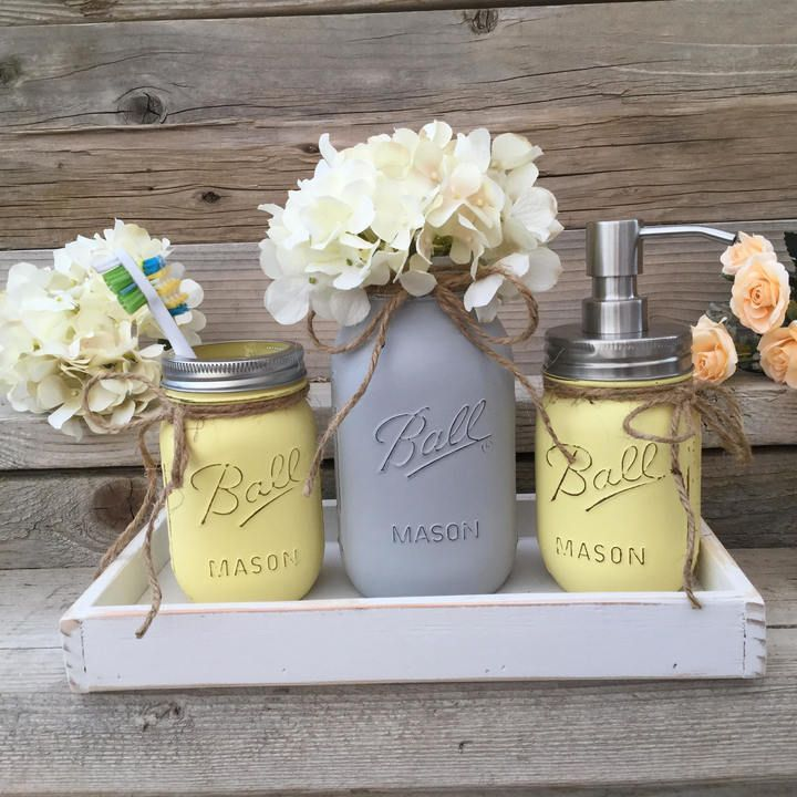 Etsy Yellow And Grey Bathroom Decor, Yellow And Gray Mason Jar Bath Set,Yellow And Grey Bathroom