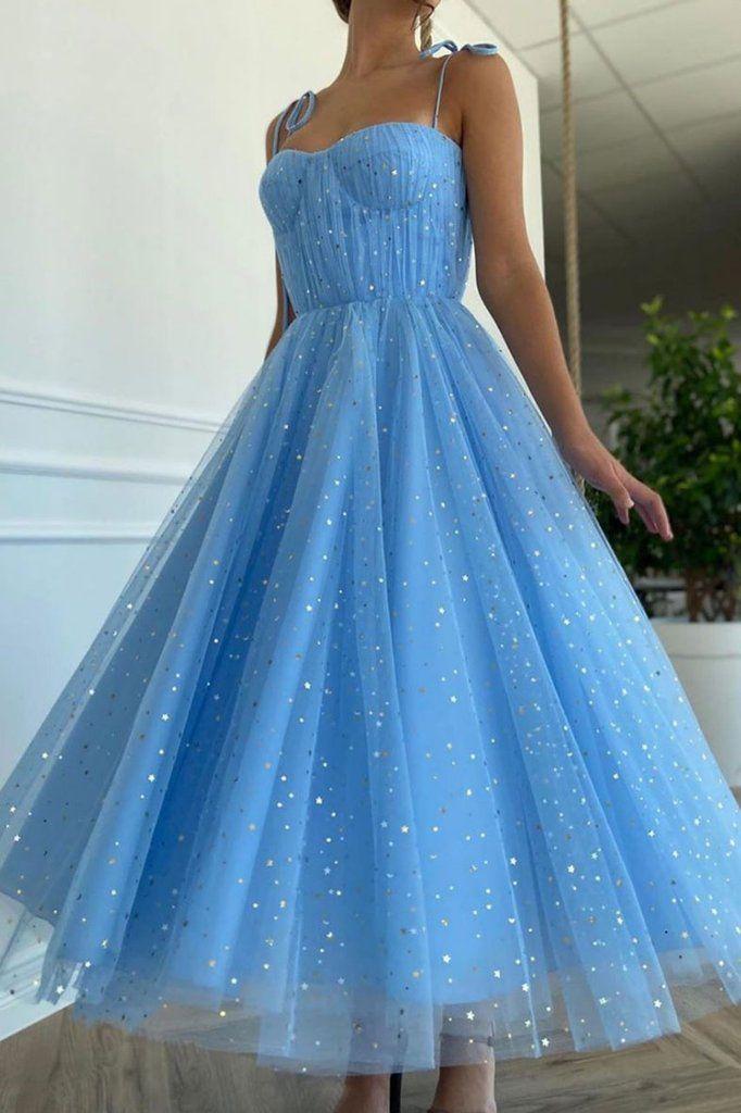 Princess A Line Spaghetti Straps Blue Party Dress