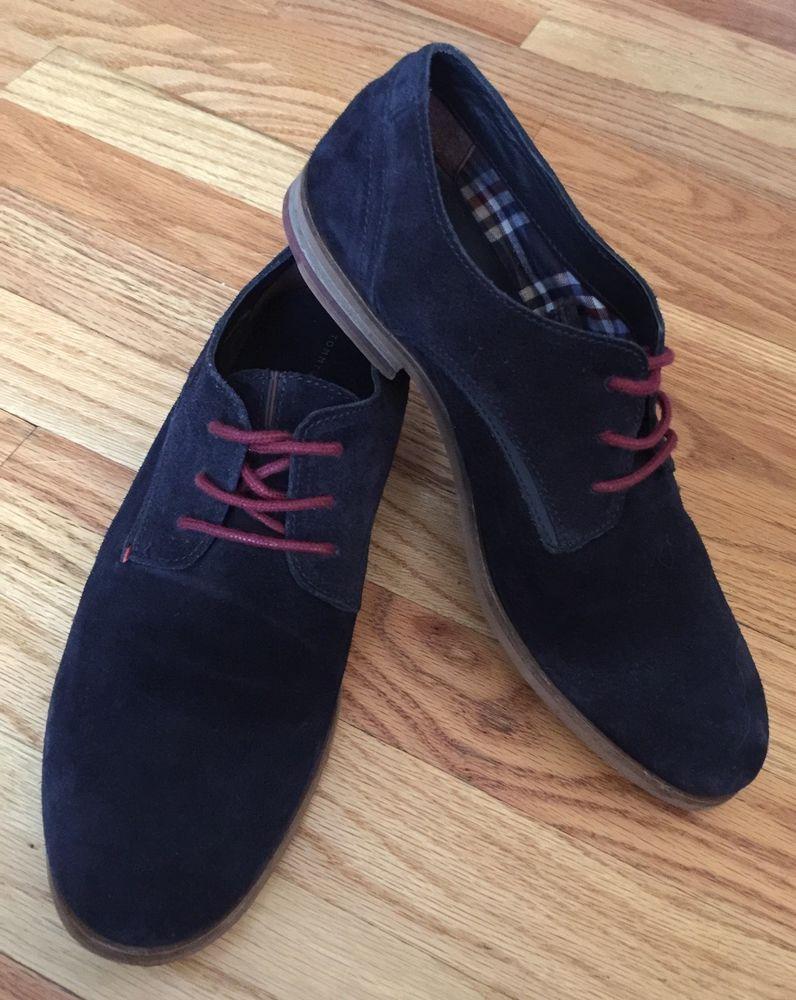 Tommy Hilfiger Mens Shoes US 7.5 Blue Suede Oxford EU 40