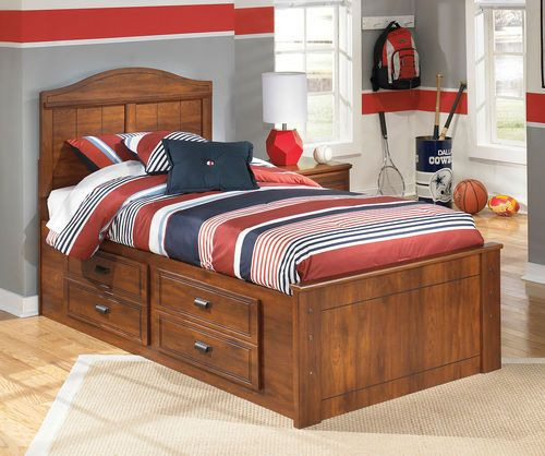 Ashley Barchan Medium Brown Twin Panel Bed with Under Bed Storage in