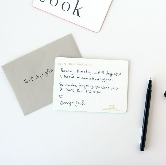 Quick Pick IOU Letterpress Promissory note and Babies - promissory notes
