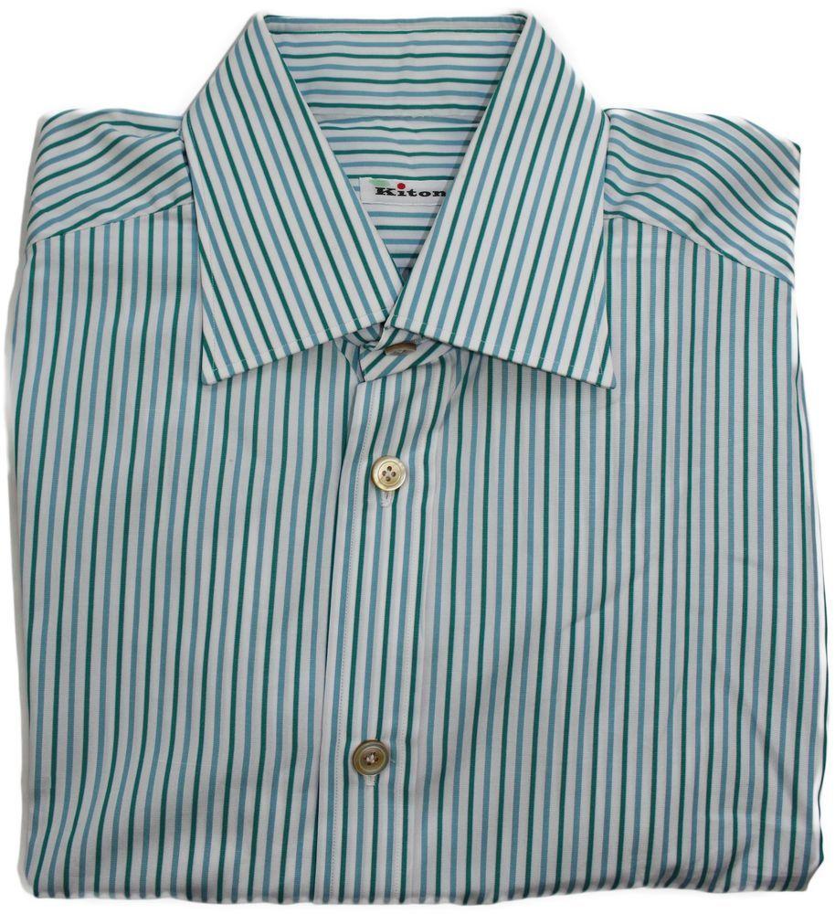 Kiton menus green striped long sleeve shirtmade in italy