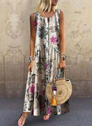 Floral Round Neckline Sleeveless Maxi A-line Dress – Purple / XXL