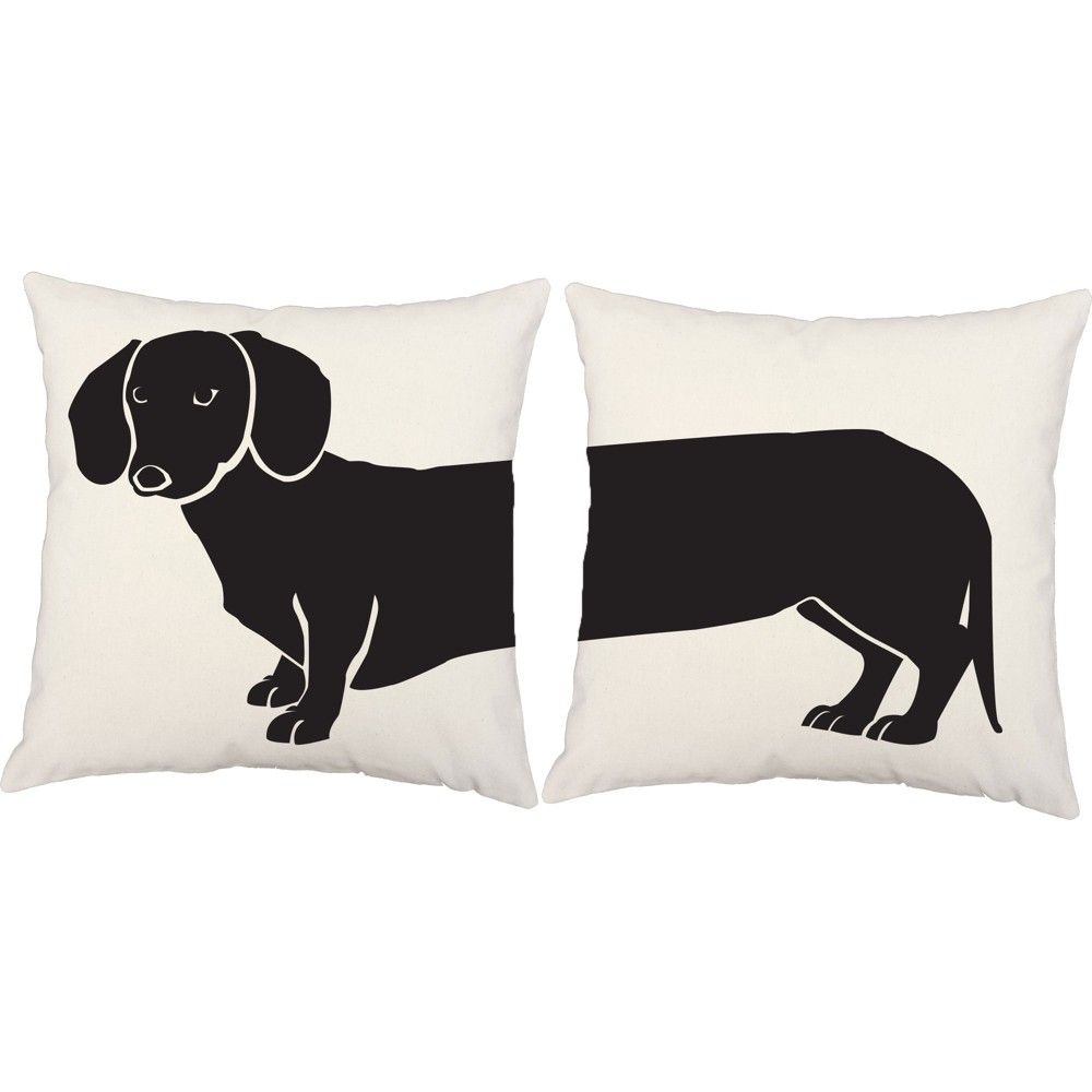Set Of 2 Dachshund Throw Pillows 16x16 Inch Square Indoor Outdoor Dog Silhouette Cushions Roomcraft In 2020 Dachshund Throw Pillow Throw Pillows Animal Pillows