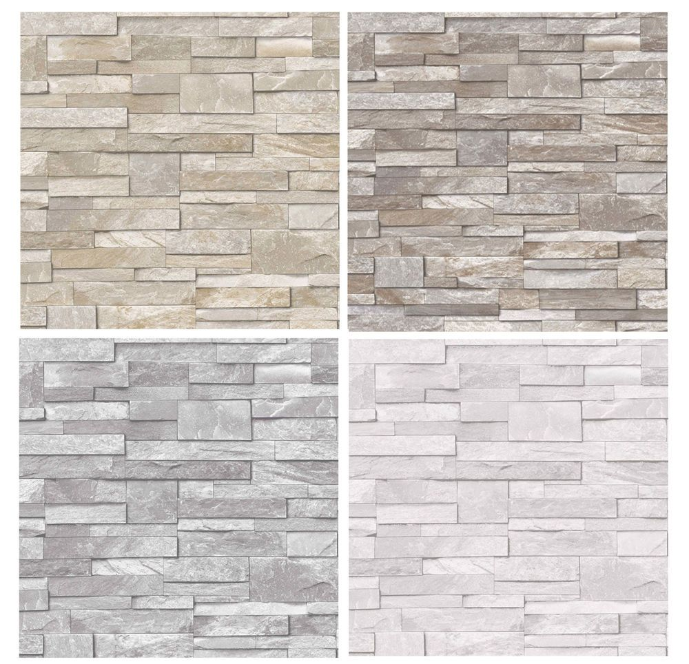 Details About 3d Slate Stone Brick Effect Wallpaper Washable Vinyl Stone Sand Grey In 2020 Brick Effect Wallpaper Brick Effect Tiles Brick Wallpaper Living Room