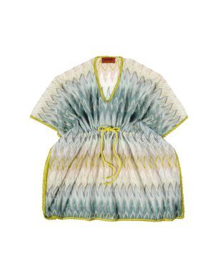 Short-length kaftan in ombre ripple knit with draw-string waist.