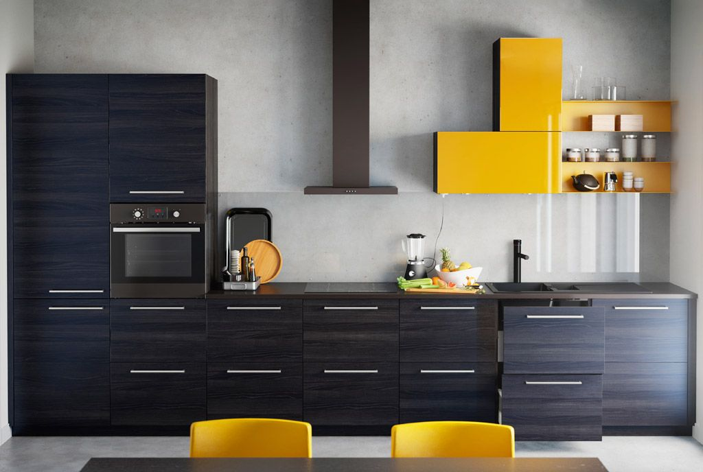 Fitted Ikea Kitchen With Cabinets In Wood Effect Black And High