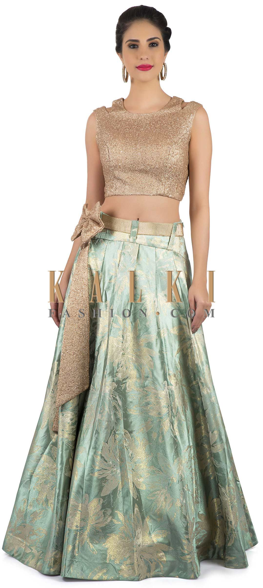 96eb5de71ac52 Mint green lehenga in brocade silk with sequin crop top blouse only on Kalki