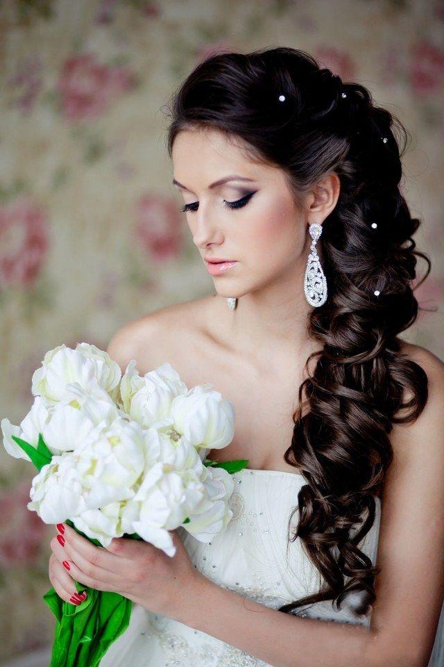 Brautschmuck haare mit schleier  braut flechtfrisur lange haare seitlich getragen mit perlen ...