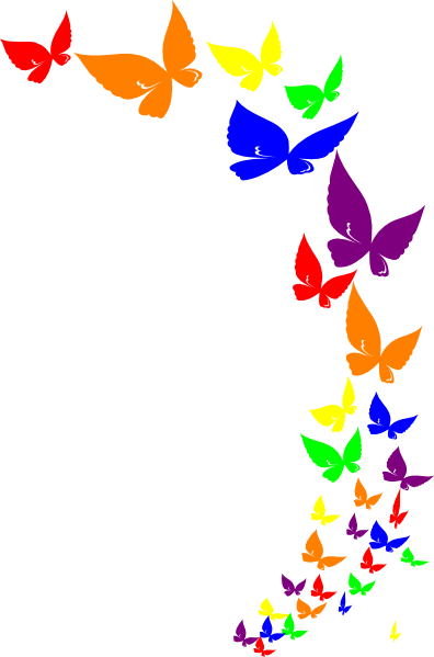 Butterfly Images Clip Art : butterfly, images, Rainbow, Butterfly, Borders